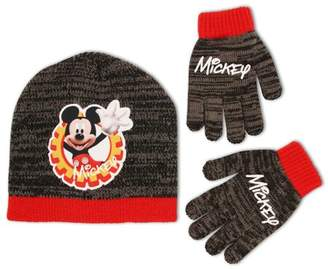 Disney Little Boys Mickey Mouse Beanie Hat and Gloves Cold Weather Set, Age 4-7