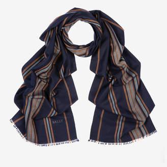 Bally Cashmere-Silk Stripe Scarf Blue, Men's cashmere and Cambodian silk blend scarf in multi-ink