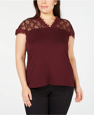 INC International Concepts I.n.c. Plus Size Lace-Trim Top, Created for Macy's