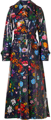 Gucci Oversized Floral-print Coated-cotton Drill Trench Coat - Navy
