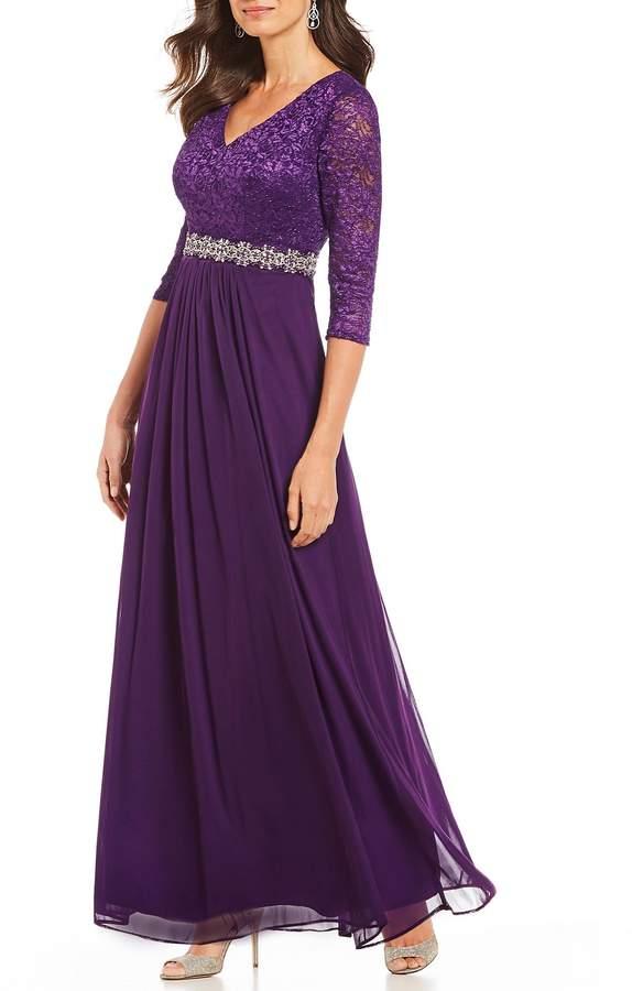 Alex Evenings Petite Size V-Neck Lace Bodice A-Line Gown