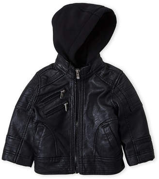 Urban Republic Infant Boys) Faux Leather Hooded Jacket
