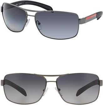 Prada Linea Rossa Polarized Rectangle Sunglasses