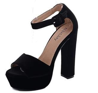 Glamorous Mila Lady (Kimberly Women's Platform Block Chunky Heels, 5.5