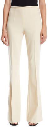 Michael Kors Side-Zip Flared-Leg Stretch Pebble Crepe Pants