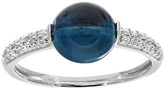 N. Naava Women's 9 ct White Gold Round Diamond and Blue Topaz Ring, Size