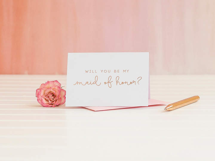 Etsy Will You Be My Maid of Honor card in Rose Gold Foil ask bridesmaid proposal invitation gift box foil