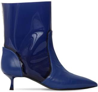 MSGM 20mm Leather & Pvc Ankle Boots