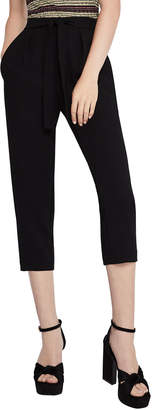 BCBGeneration Mid-Rise Pegged Cropped Belted Pants