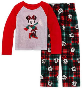 DISNEY MICKEY MOUSE Disney Mickey Mouse Family Graphic Tee Girls 2 Piece Pajama Set - Preschool/Big Kid