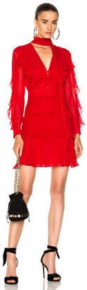 Nicholas Tie Neck Ruffle Mini Dress