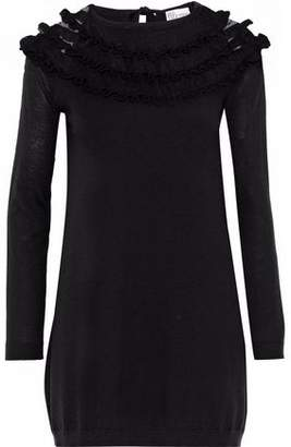 RED Valentino Ruffle-trimmed Point D'esprit-paneled Wool Mini Dress