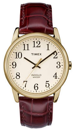 Timex Analog Reader Goldtone Leather Strap Watch