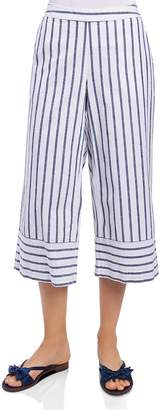 Foxcroft Striped & Cropped Chambray Pants