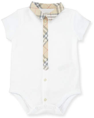 Burberry Tannar Check-Placket Jersey Playsuit, White, Size 3-24 Months