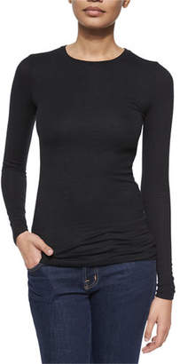 ATM Anthony Thomas Melillo Long-Sleeve Crewneck Jersey Top, Black