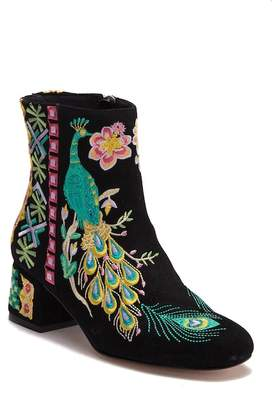 Johnny Was Retro Peacock Black Suede Embroidered Boot