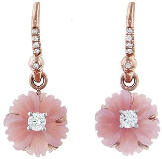 Irene Neuwirth 10mm Carved Pink Opal Diamond Flower Earrings - Rose Gold