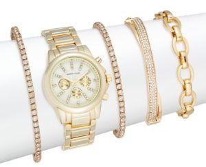 Glitz 5-Piece Bracelet Watch Set/Goldtone $125 thestylecure.com