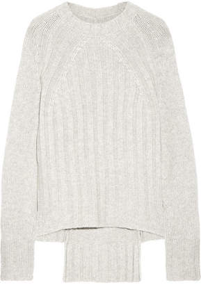 Nili Lotan Everly Ribbed Cashmere Sweater - Light gray
