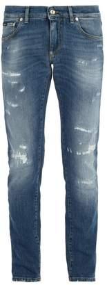 Dolce & Gabbana Gold Fit Distressed Denim Jeans - Mens - Blue
