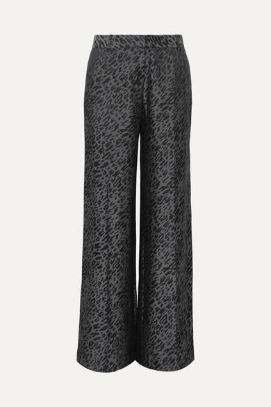 Arwen Silk-blend Jacquard Wide-leg Pants - Black