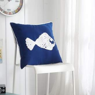 "Mainstays CASA Tropical 18"" x 18"" Fish Decorative Pillow, Blue"