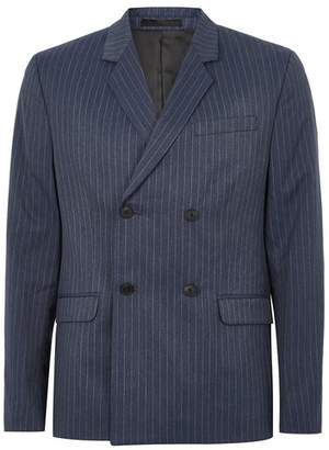 Topman Mens Blue Pinstripe Double Breasted Suit Jacket