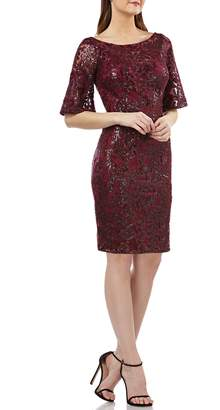 Carmen Marc Valvo V-Back Sequin Lace Cocktail Dress