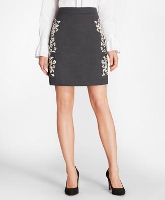 Brooks Brothers Floral-Embellished Wool-Blend Twill Skirt