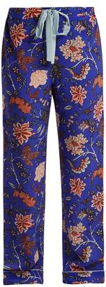 Diane von Furstenberg Floral Print Silk Crepe De Chine Pyjama Trousers - Womens - Blue
