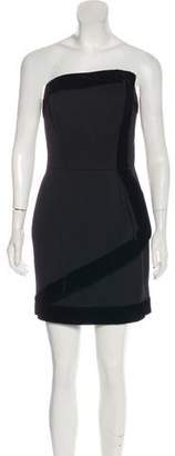 Rachel Zoe Velvet-Trimmed Wool Strapless Mini Dress w/ Tags