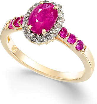 Macy's Ruby (1-1/3 ct. t.w.) & Diamond (1/6 ct. t.w.) Halo Ring in 14k Gold