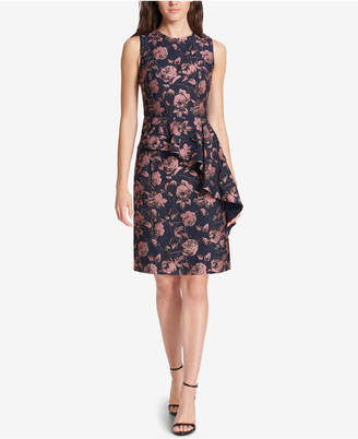 Vince Camuto Floral Ruffled Jacquard A-Line Dress