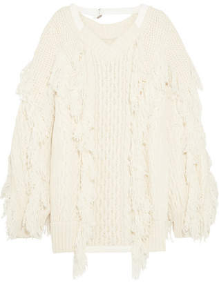 Sacai Fringed Cable-knit Wool-blend Sweater - Off-white