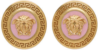 Versace Gold and Pink Small Medusa Coin Earrings
