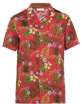 Altea Palm Print Short Sleeved Cotton Shirt - Mens - Pink