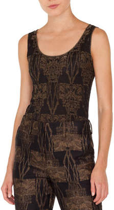 Akris Sleeveless Scoop-Neck Fruits of Vienna Metallic-Jacquard Knit Pullover Top