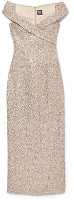 Vince Camuto Sequin-embellished Off-the-shoulder Gown