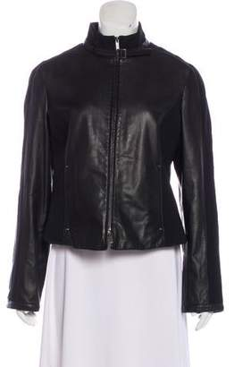 Armani Collezioni Zip-Up Leather Jacket