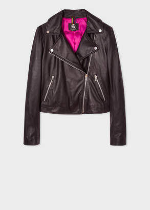 Paul Smith Women's Black Biker Jacket With Pink Lining