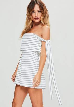 Missguided White Striped Bardot Tie Side Double Layer Romper