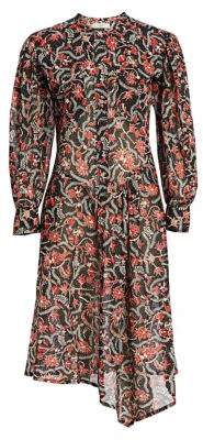 Etoile Isabel Marant Women's Elka Long-Sleeve Printed Midi Shirt Dress - Black - Size 36 (4)