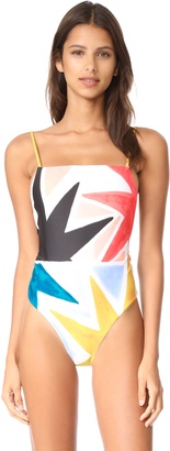 Mara Hoffman Superstar High Leg Tank One Piece $225 thestylecure.com