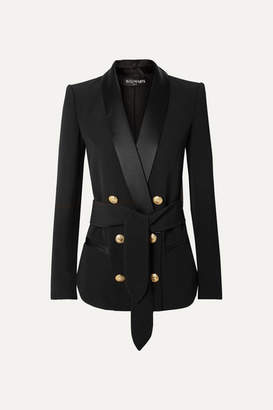 Balmain Belted Double-breasted Crepe Blazer - Black