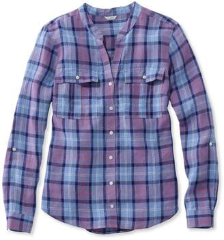 L.L. Bean L.L.Bean Premium Washable Linen Roll-Tab Shirt, Long-Sleeve Plaid