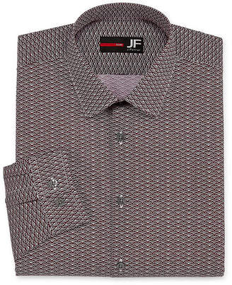 Jf J.Ferrar Easy-Care Solid Long Sleeve Broadcloth Pattern Dress Shirt