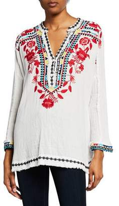 Johnny Was Belvedere Long-Sleeve Embroidered Gauze Blouse