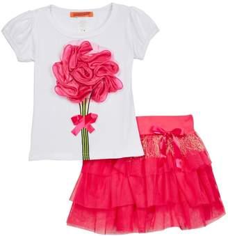 Funkyberry Flower Applique Shirt & Tiered Skirt Set (Toddler Girls)