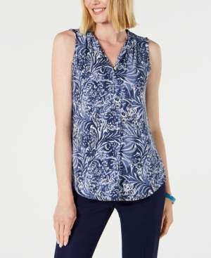 Charter Club Sleeveless Printed Pleated-Neck Top, Created for Macy's